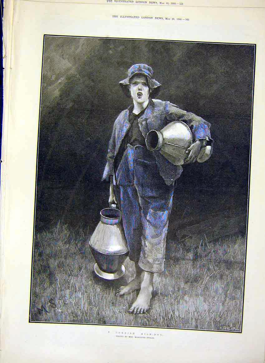 Print Cornish Milk-Boy Stokes Agricultural Art 1888 63Maa0 Old Original