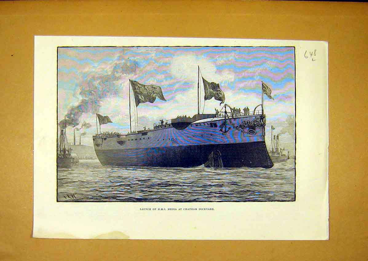 Print Launch Hms Medea Chatham Dockyard Ship 1888 48Lmaa0 Old Original