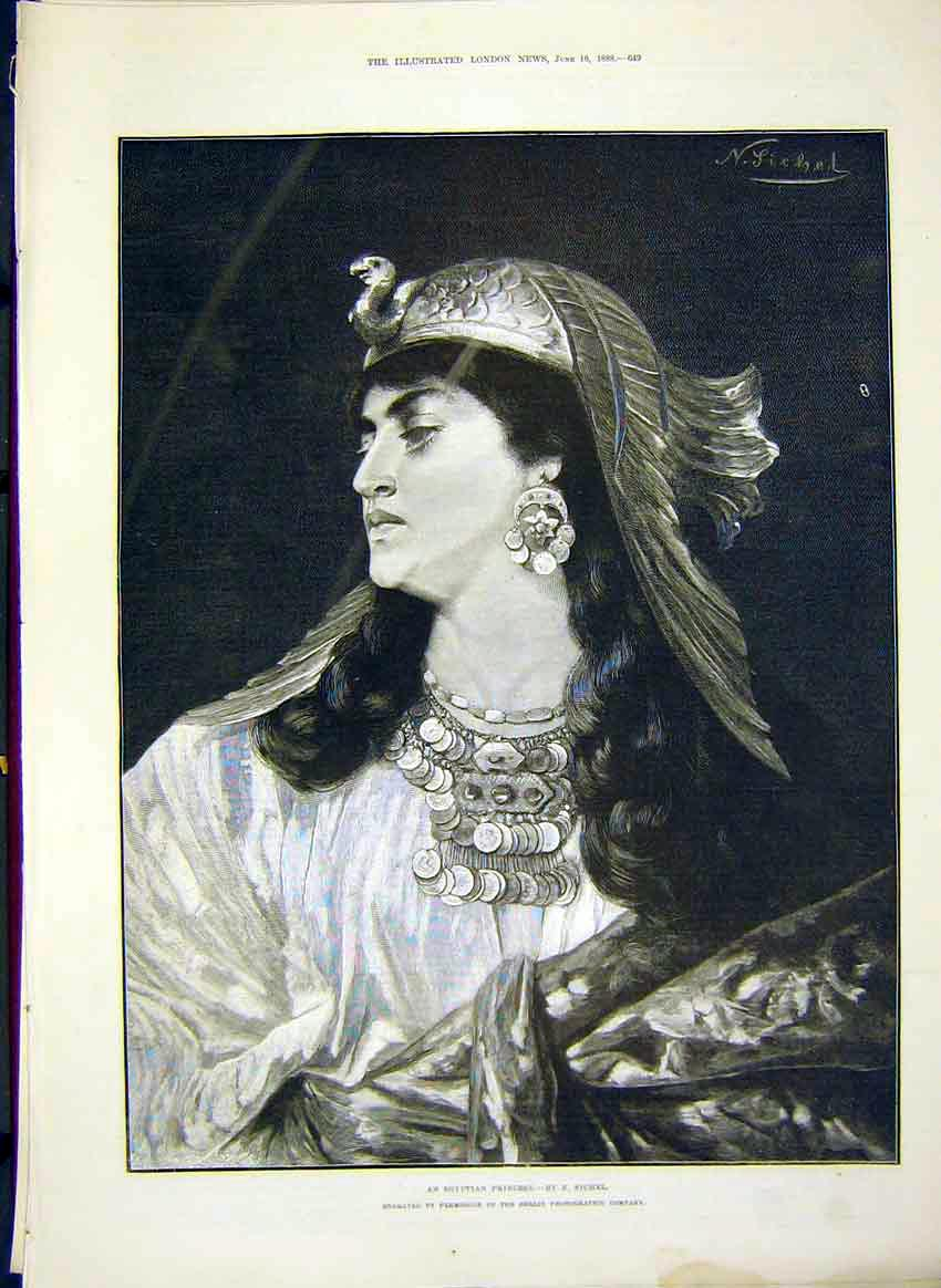 Print Egyptian Princess Sichel Portrait 1888 49Maa0 Old Original