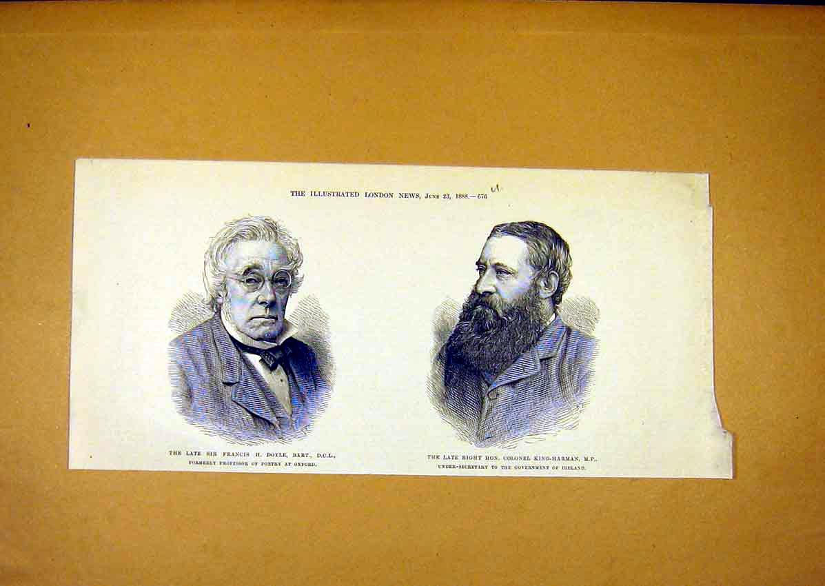 Print Portrait Doyle Profeesor Poetry King-Harman Mp 1888 76Umaa0 Old Original