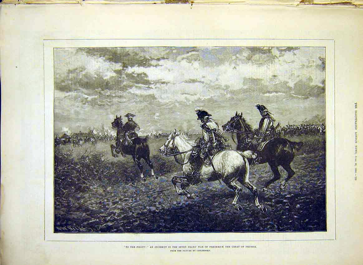 Print Frederick Prussia War Chelminsky Battle 1888 09Maa0 Old Original