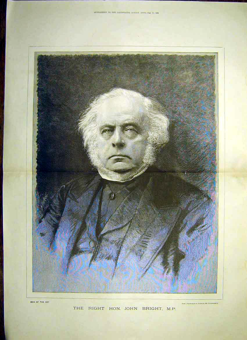 Print Portrait Right Hon. John Bright Mp 1888 04Tmaa0 Old Original