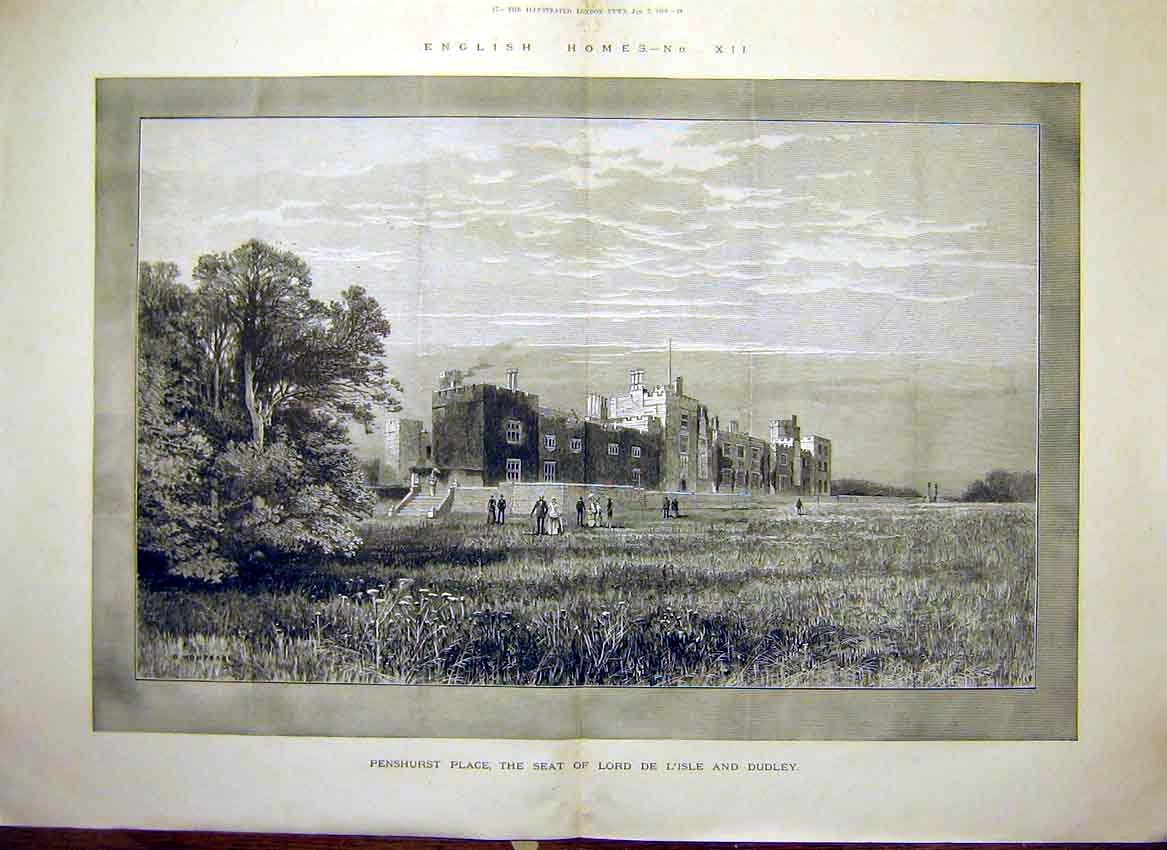 Print Penshurst Place Lord De L'Isle Dudley Building 1888 07Tmaa0 Old Original