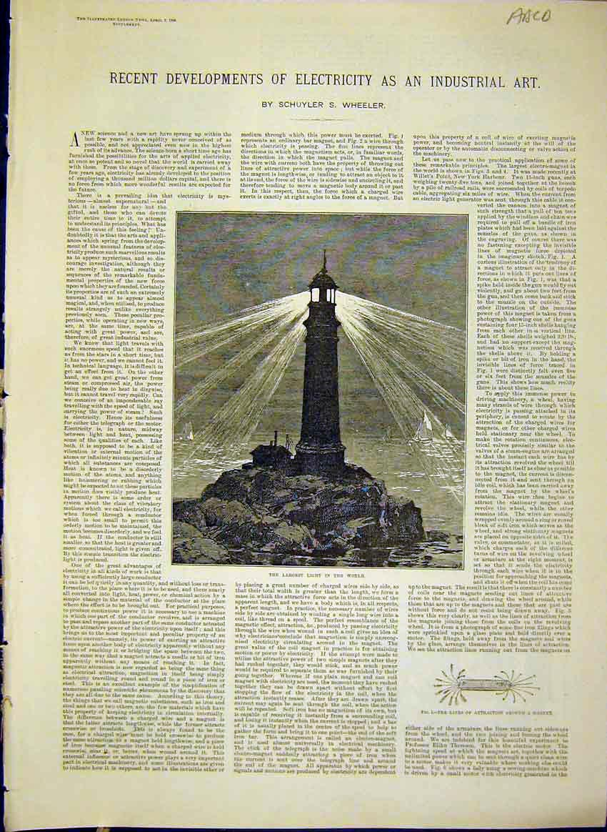 Print Electricity Industrial Art Electric Light 1888 10Amaa0 Old Original
