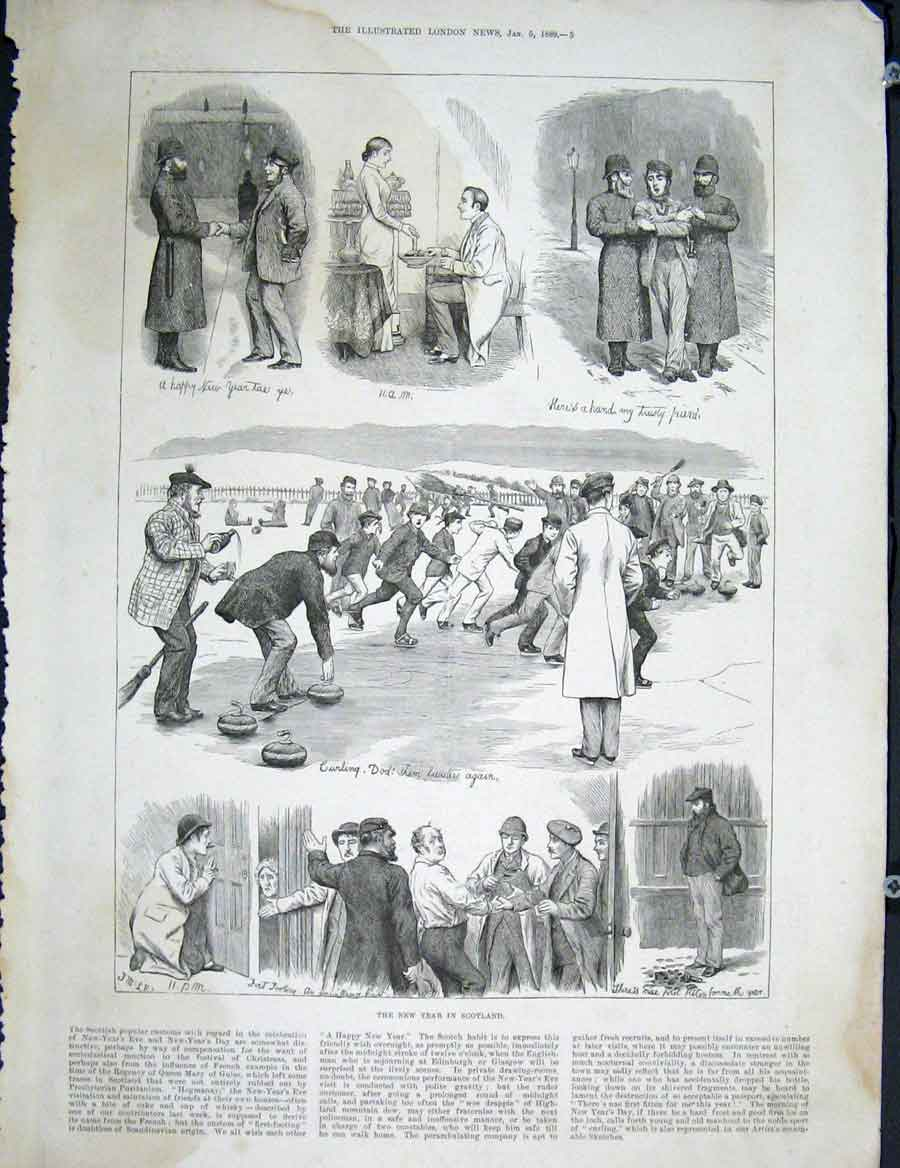 Print Scotland New Year Fine Art 1889 05Maa0 Old Original
