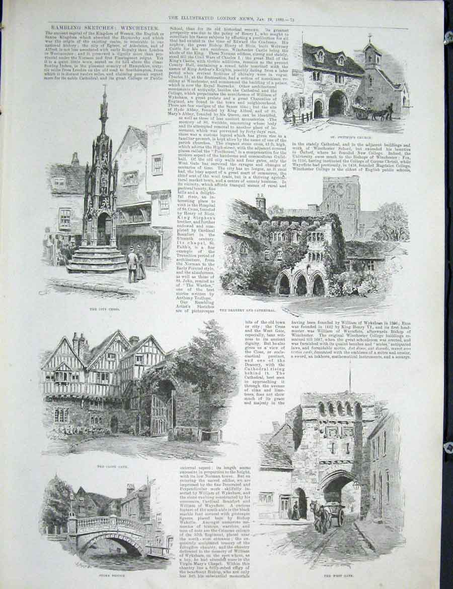 Print Winchester Wessex Swithin'S Church Cathedral Stoke 1889 73Maa0 Old Original