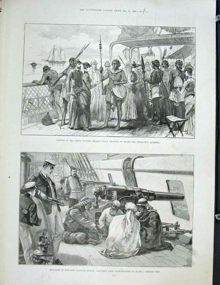 Print Samoa Alameda Hanmer Church Largo Bay Arab Africa 1889 97Rmaa0 Old Original