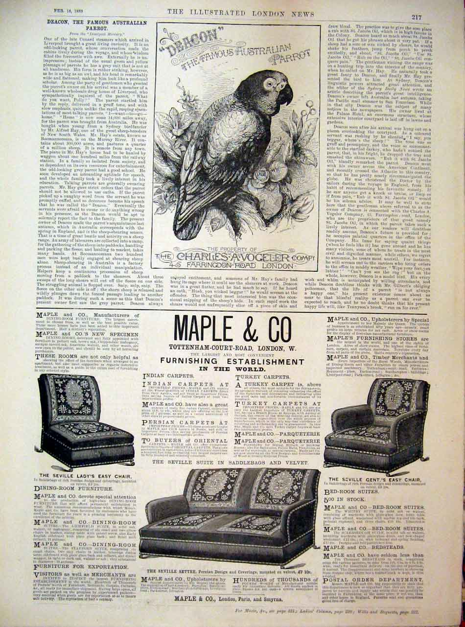 Print Advert Deacon Parrot Vogeler Maple Furniture London 17Maa0 Old Original