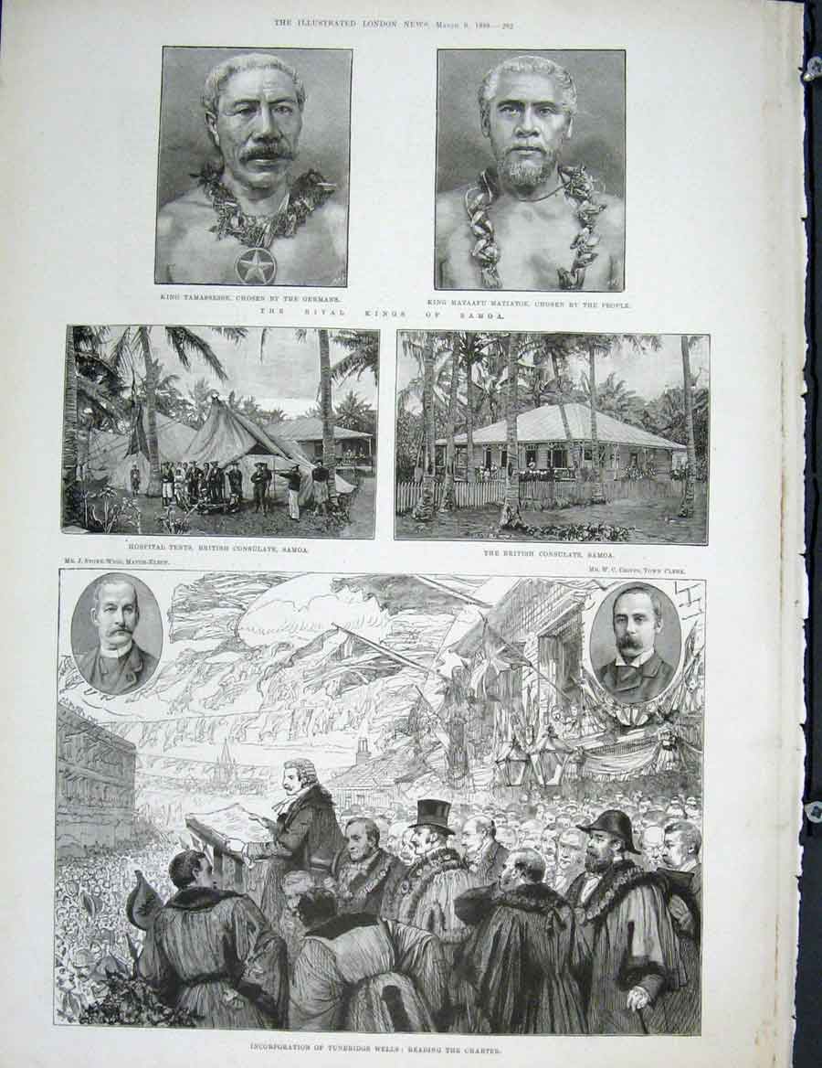 [Print Portrait King Samoa Hospital Tunbridge Wells 1889 92Maa0 Old Original]