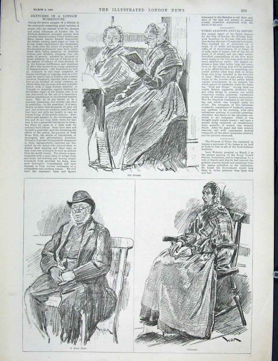 Print London Workhouse Sketches Fine Art 1889 99Amaa0 Old Original