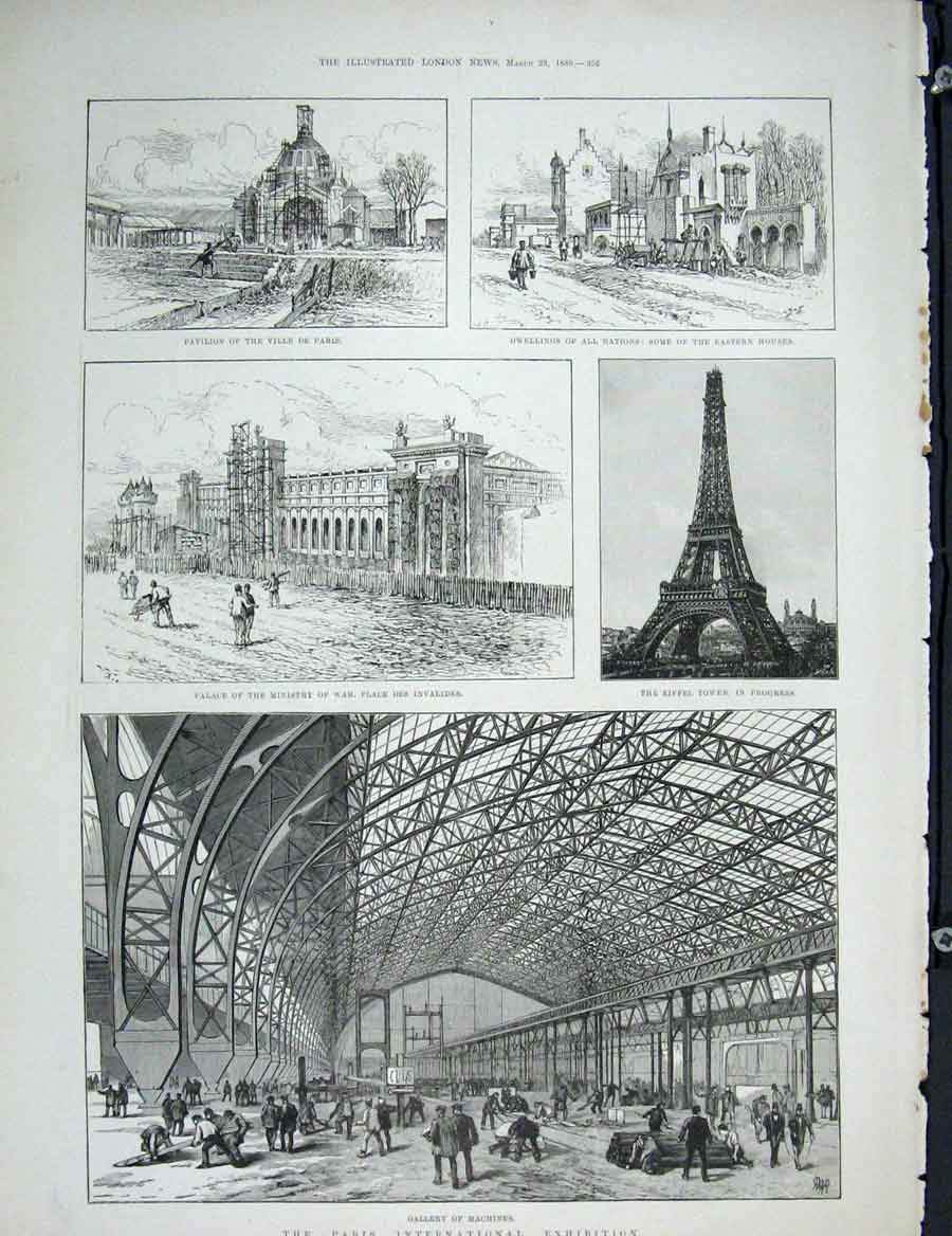 Print Paris Exhibition Gallery Machines Eiffel Tower Palace 56Maa0 Old Original