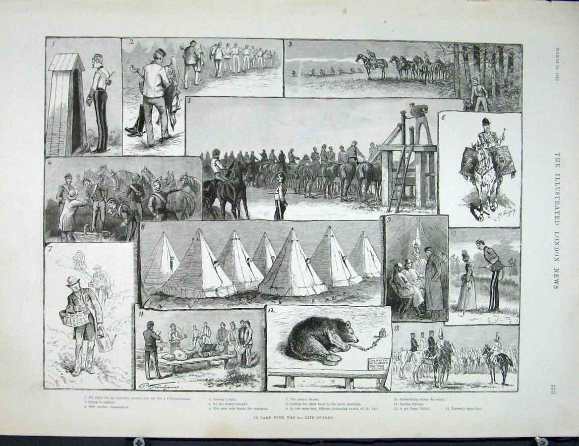 Print Life Guards Camp Troops Fine Art 1889 75Maa0 Old Original