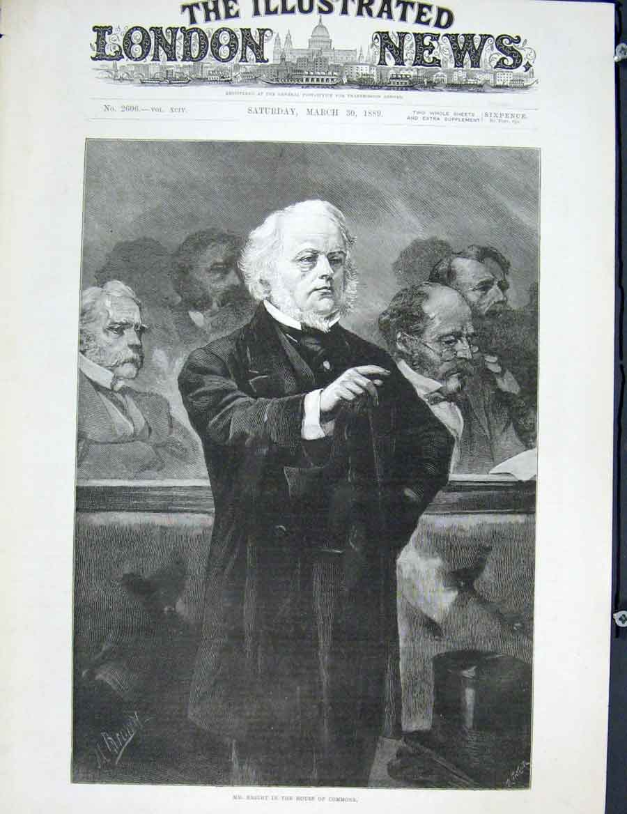 Print Bright Portrait House Commons 1889 86Maa0 Old Original