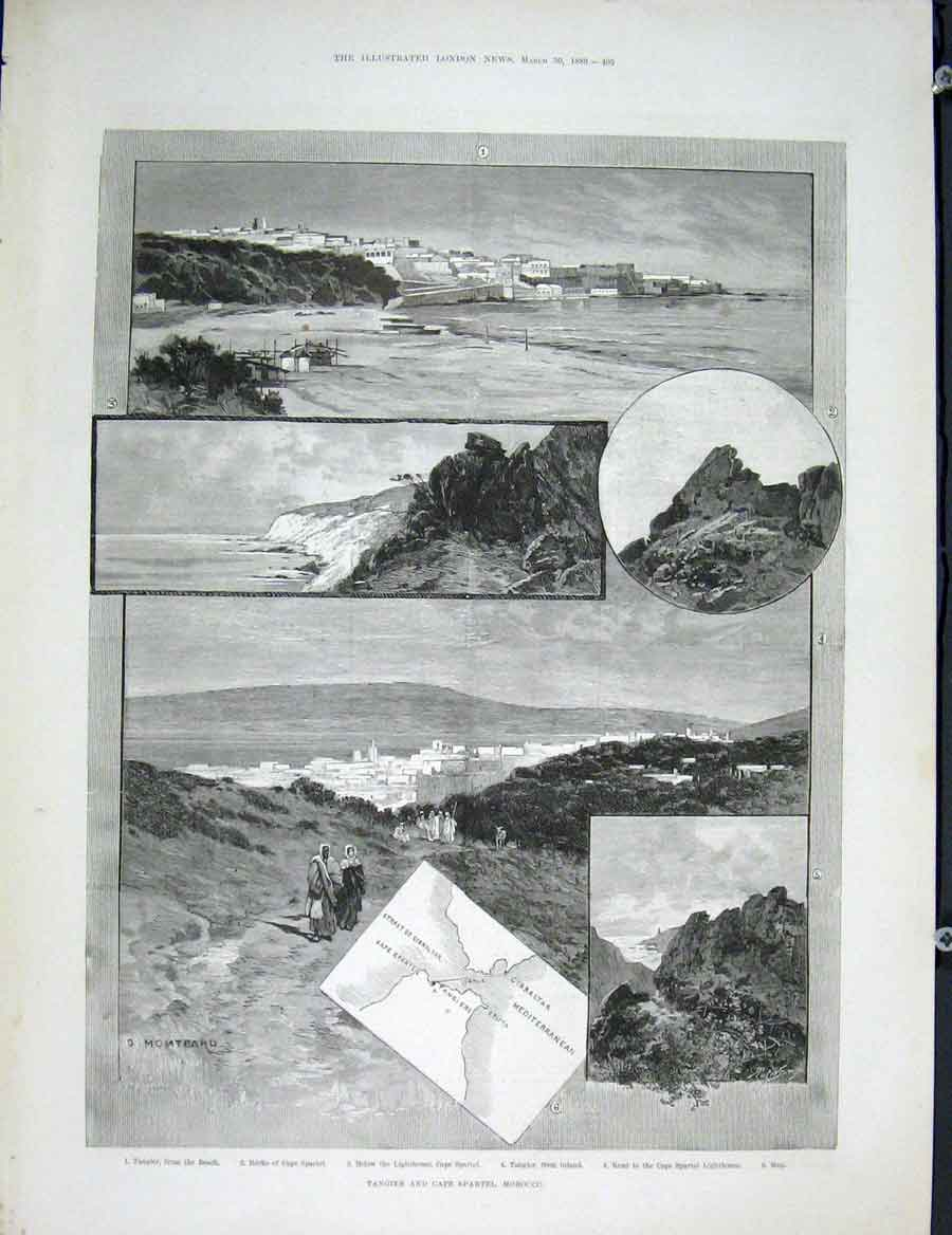 Print Tangier Cape Spartel Morocco Africa Lighthouse 1889 05Maa0 Old Original