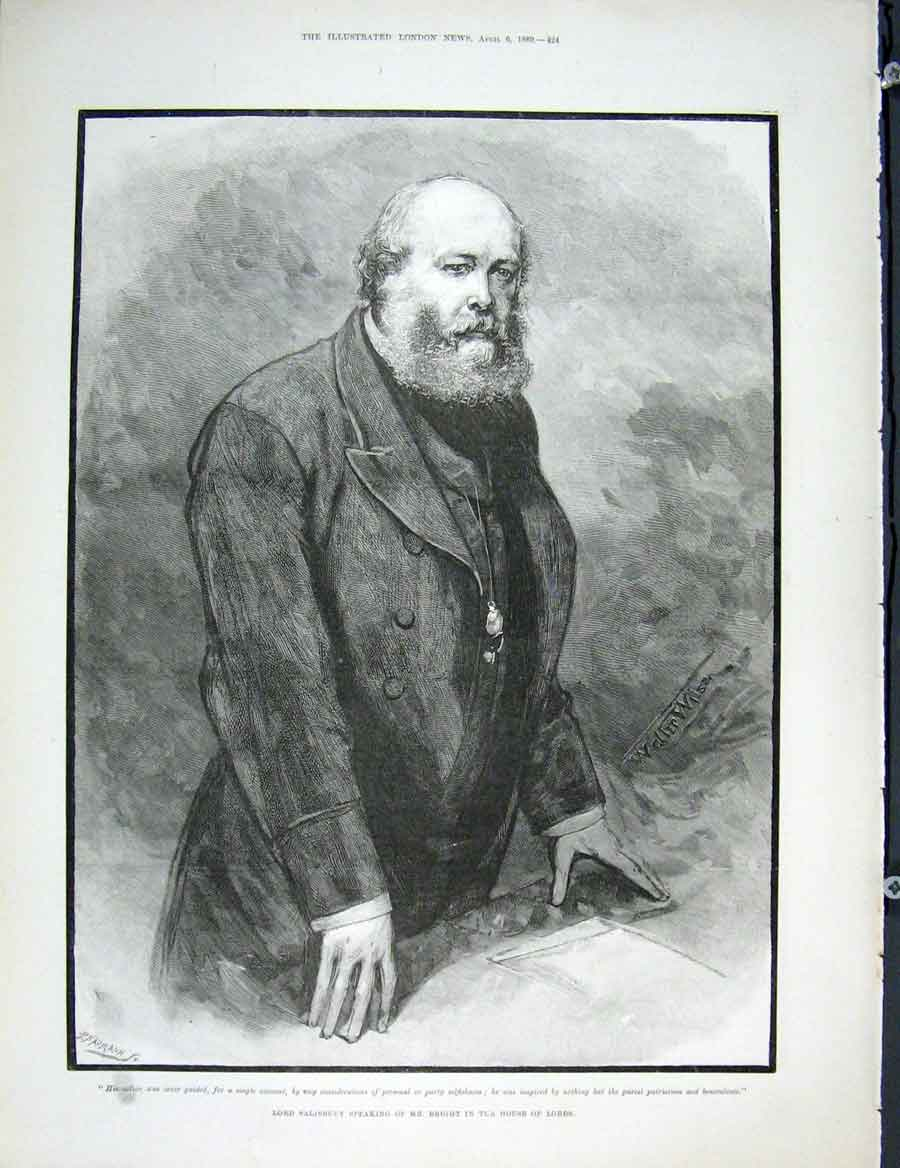 Print Lord Salisbury Bright House Lords 1889 24Maa0 Old Original