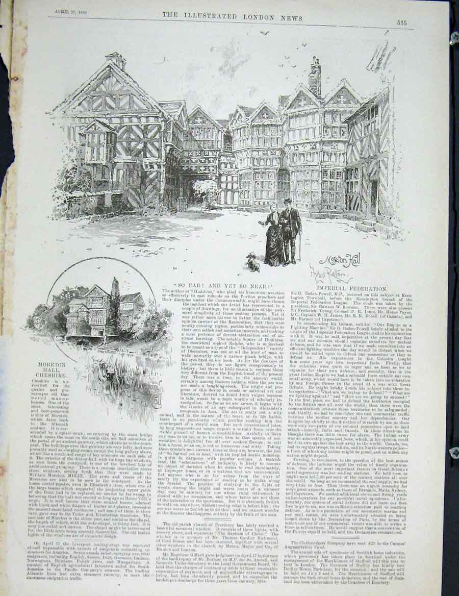 Print Moreton Hall Cheshire Fine Art 1889 35Maa0 Old Original