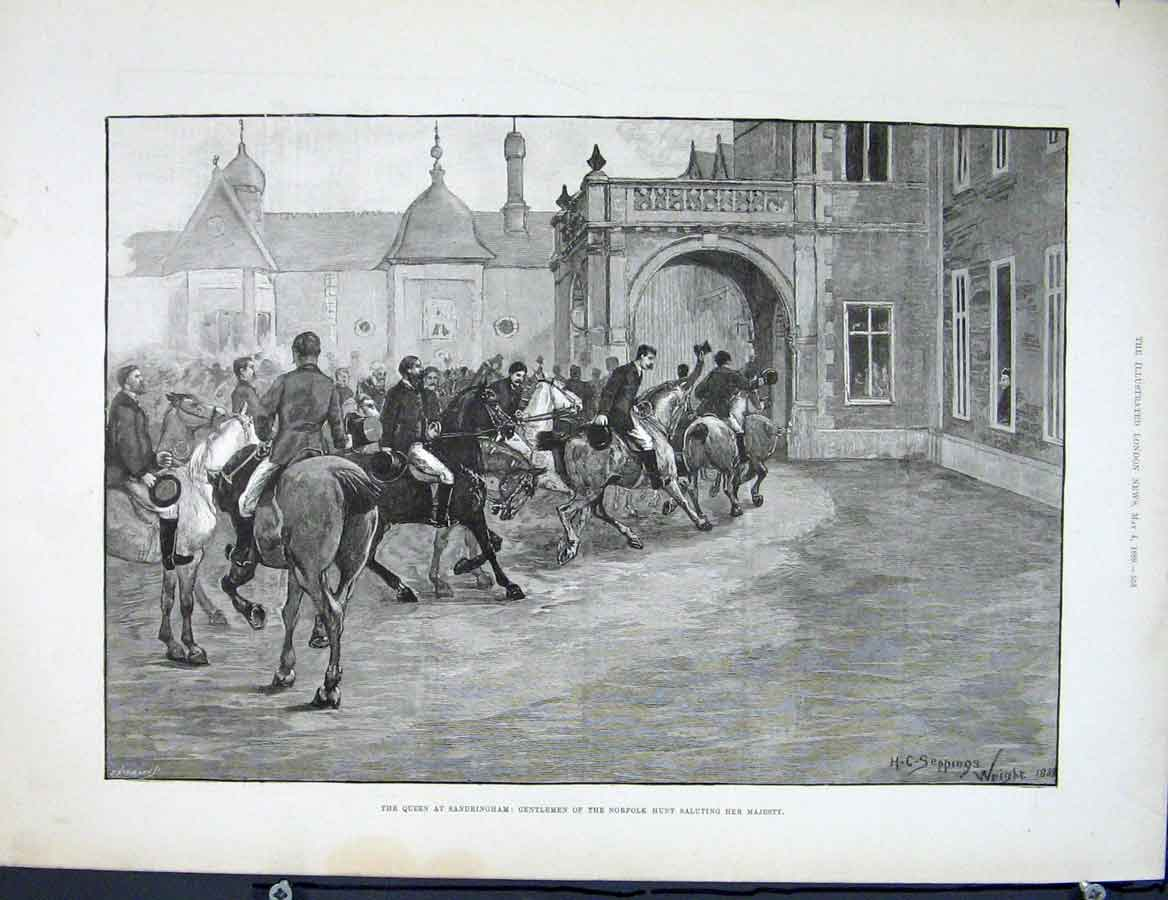 Print Queen Sandringham Norfolk Hunt Gentlemen 53Maa0 Old Original