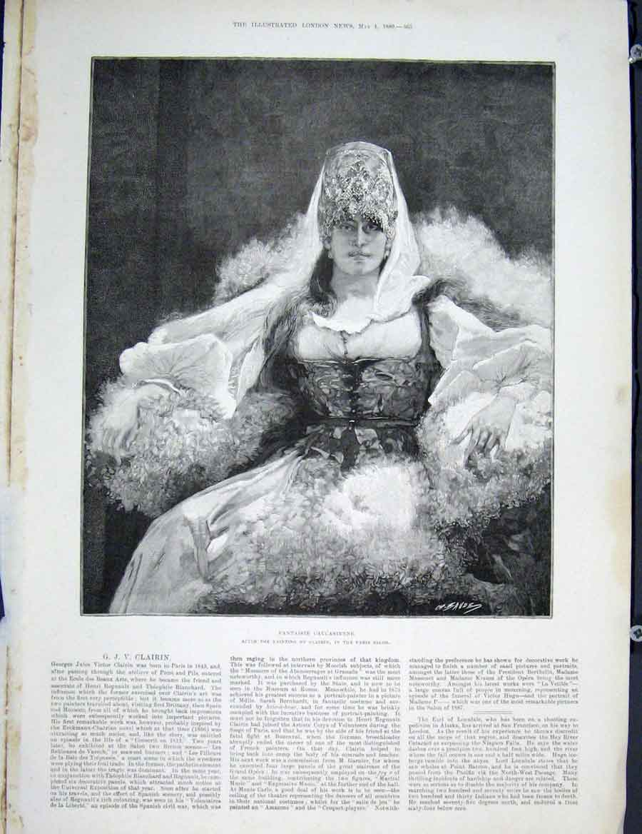 Print Fantaisie Caucasienne Clairin Paris Fine Art 1889 65Maa0 Old Original