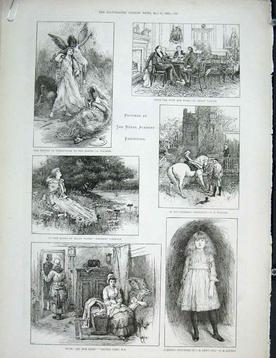 Print Royal Academy Exhibition Fine Art 1889 84Amaa0 Old Original