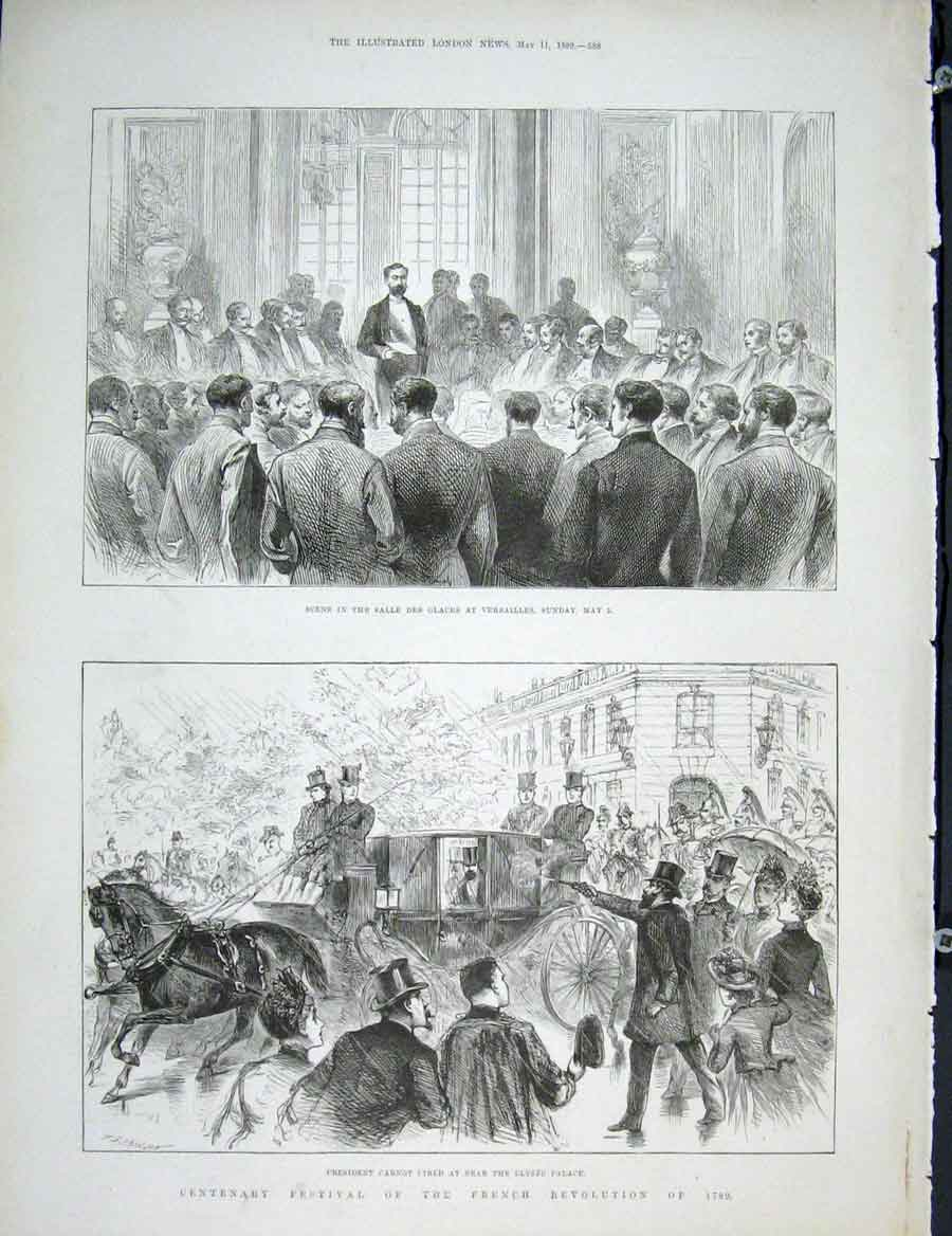Print French Revolution Festival Carnot Elysee Versailles 88Maa0 Old Original