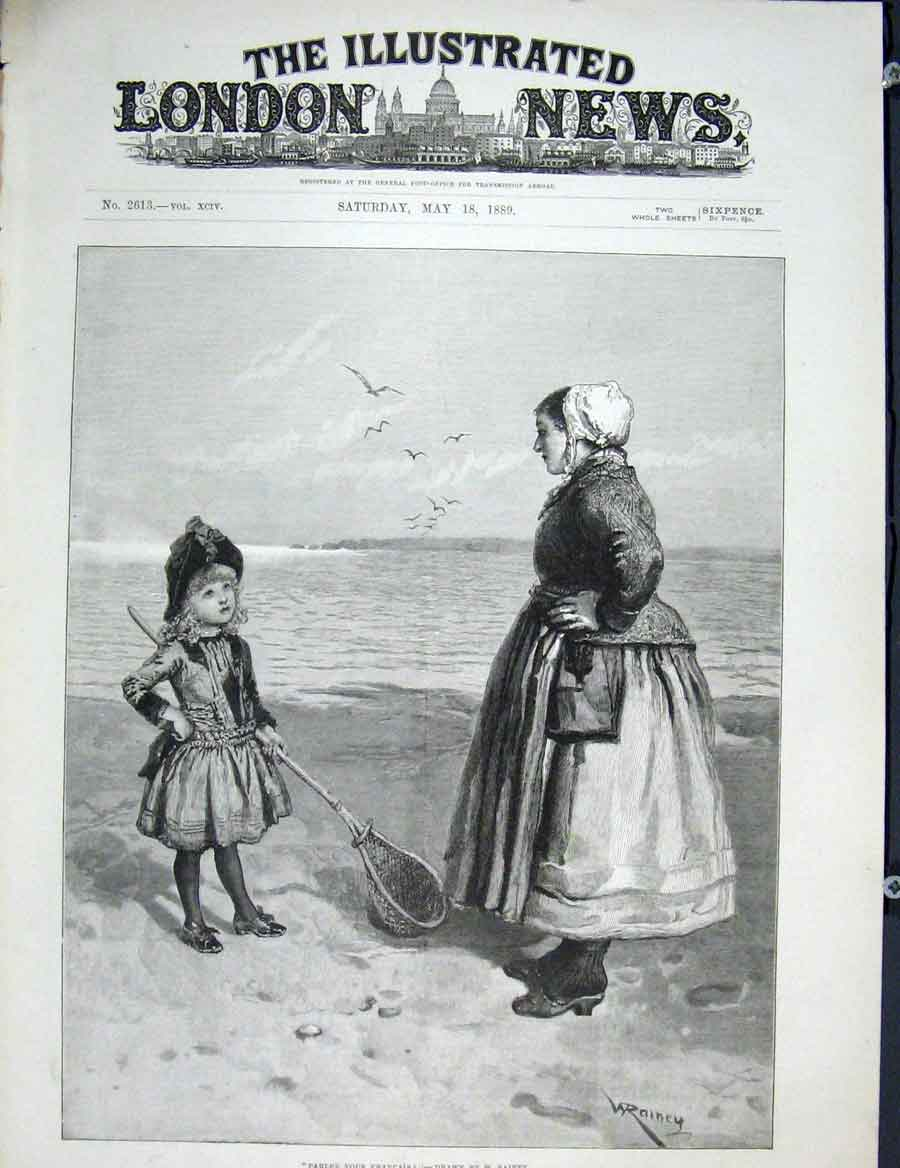 Print Rainey Parlez Vous Francais Fine Art 1889 14Maa0 Old Original