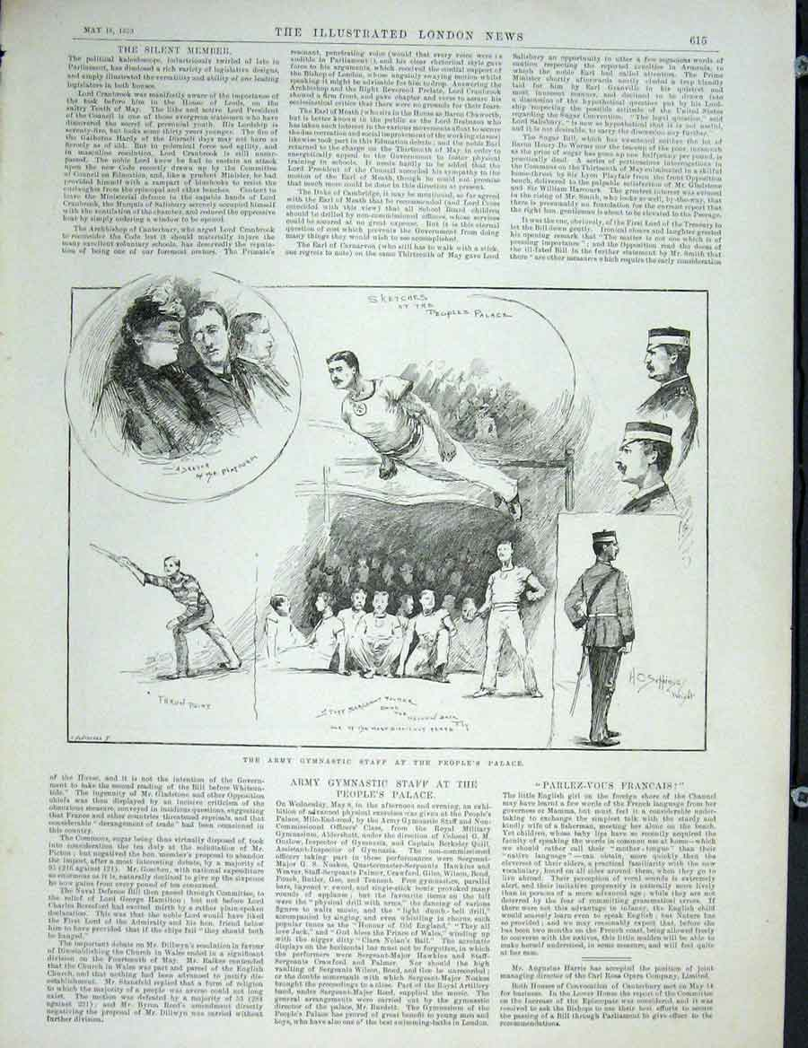 Print Army Gymnastics People'S Palace London 1889 15Maa0 Old Original