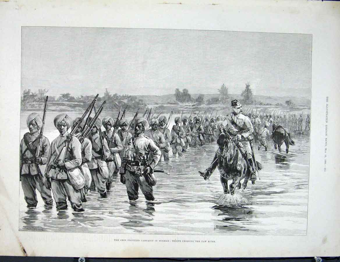 Print Chin Frontier Burmah Yaw River Troops 33Maa0 Old Original