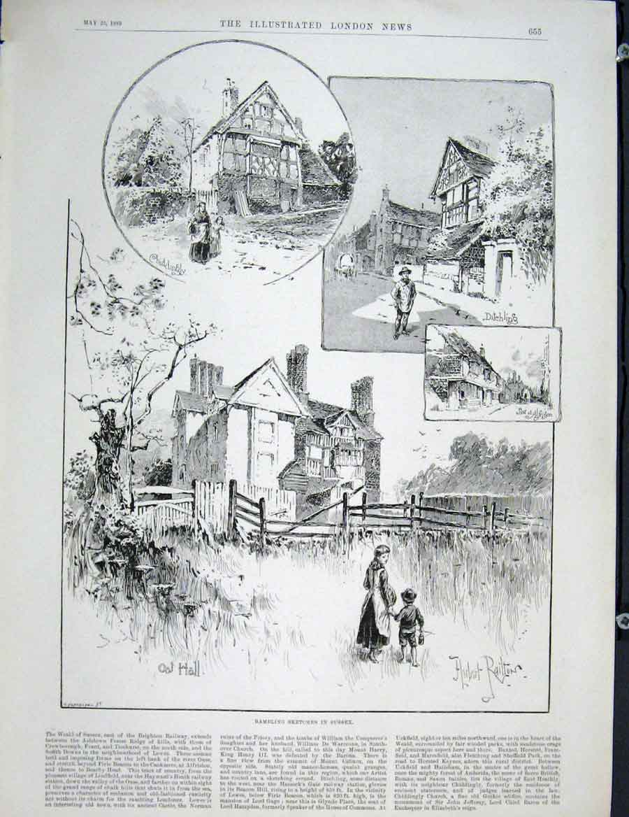 Print Sussex Sketch Weald Brighton Railway 1889 55Maa0 Old Original