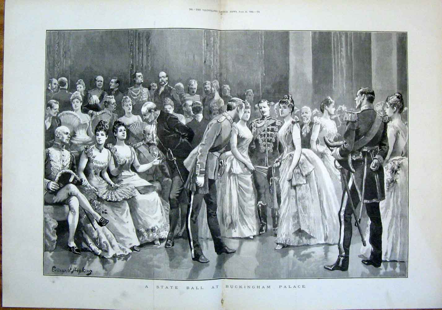 Print State Ball Buckingham Palace London England 1889 59Tmaa0 Old Original