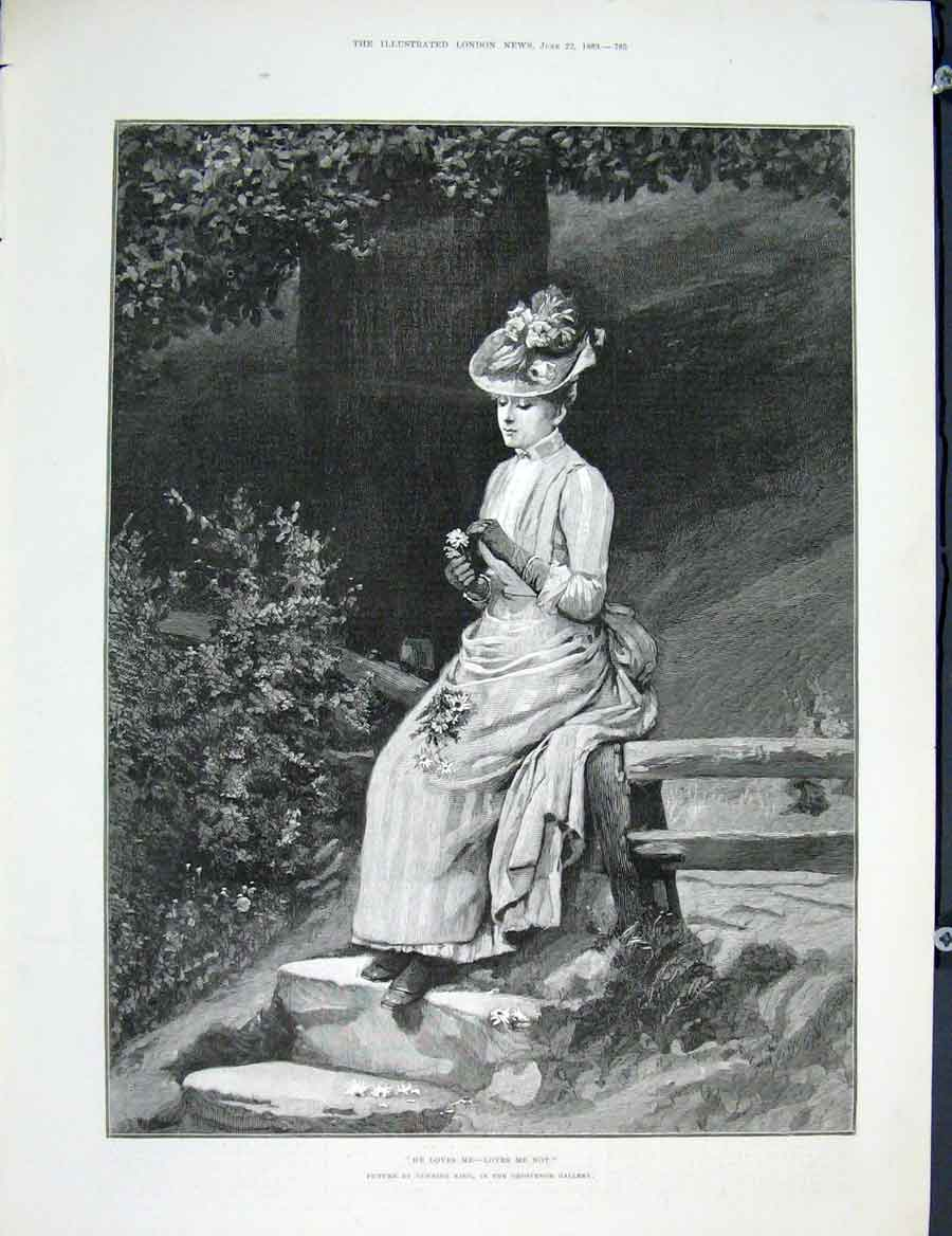 Print Gunning King Grosvenor Gallery Love Lady Fine Art 1889 85Maa0 Old Original
