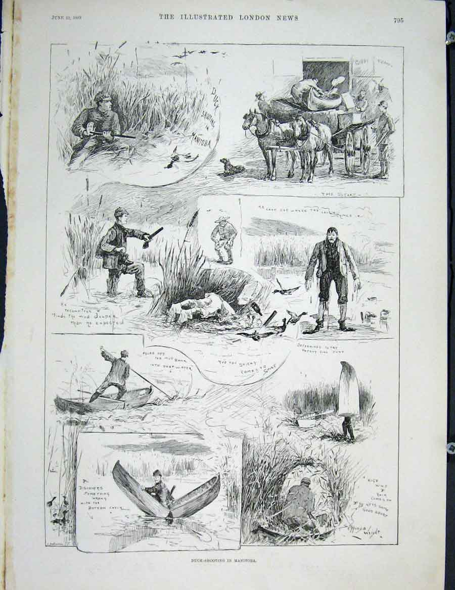 Print Duck Shooting Manitoba India Shoot 1889 95Maa0 Old Original