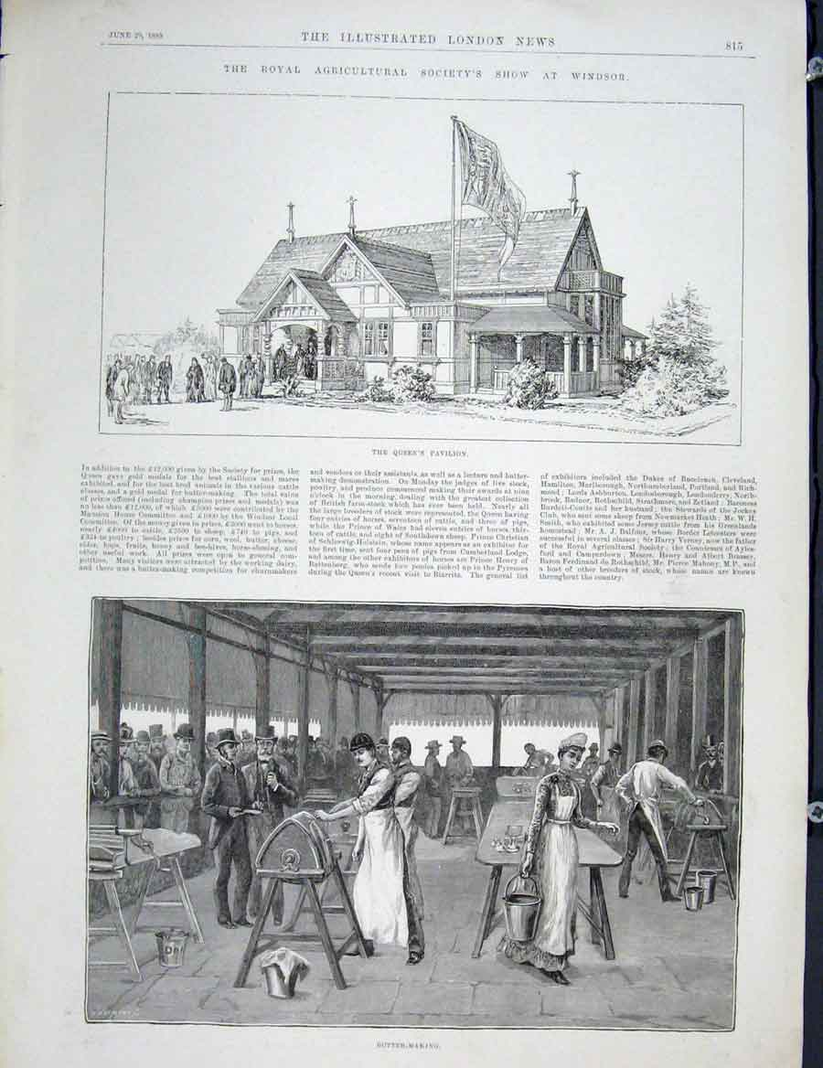 Print Windsor Show Agricultural Society Queen Pavilion Butter 15Maa0 Old Original