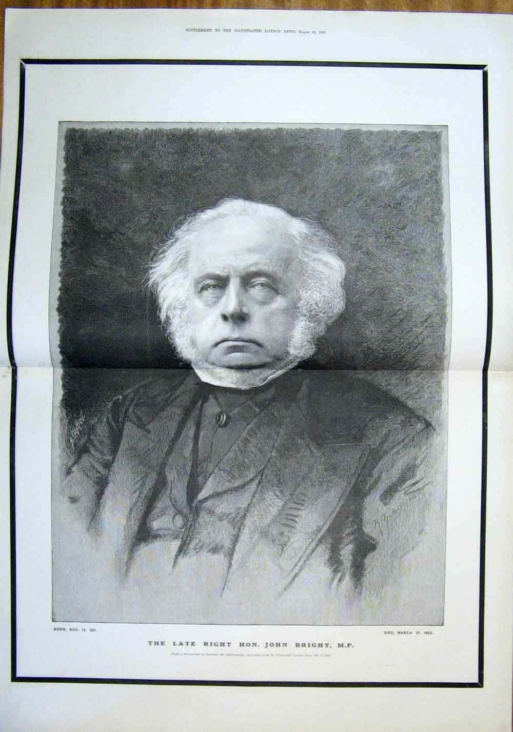 Print John Bright Barraud 1889 Portrait 04Tmaa0 Old Original