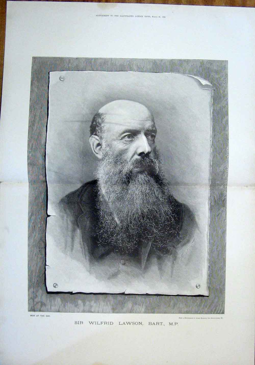 Print Portrait Lawson Bassano Fine Art 1889 05Tmaa0 Old Original