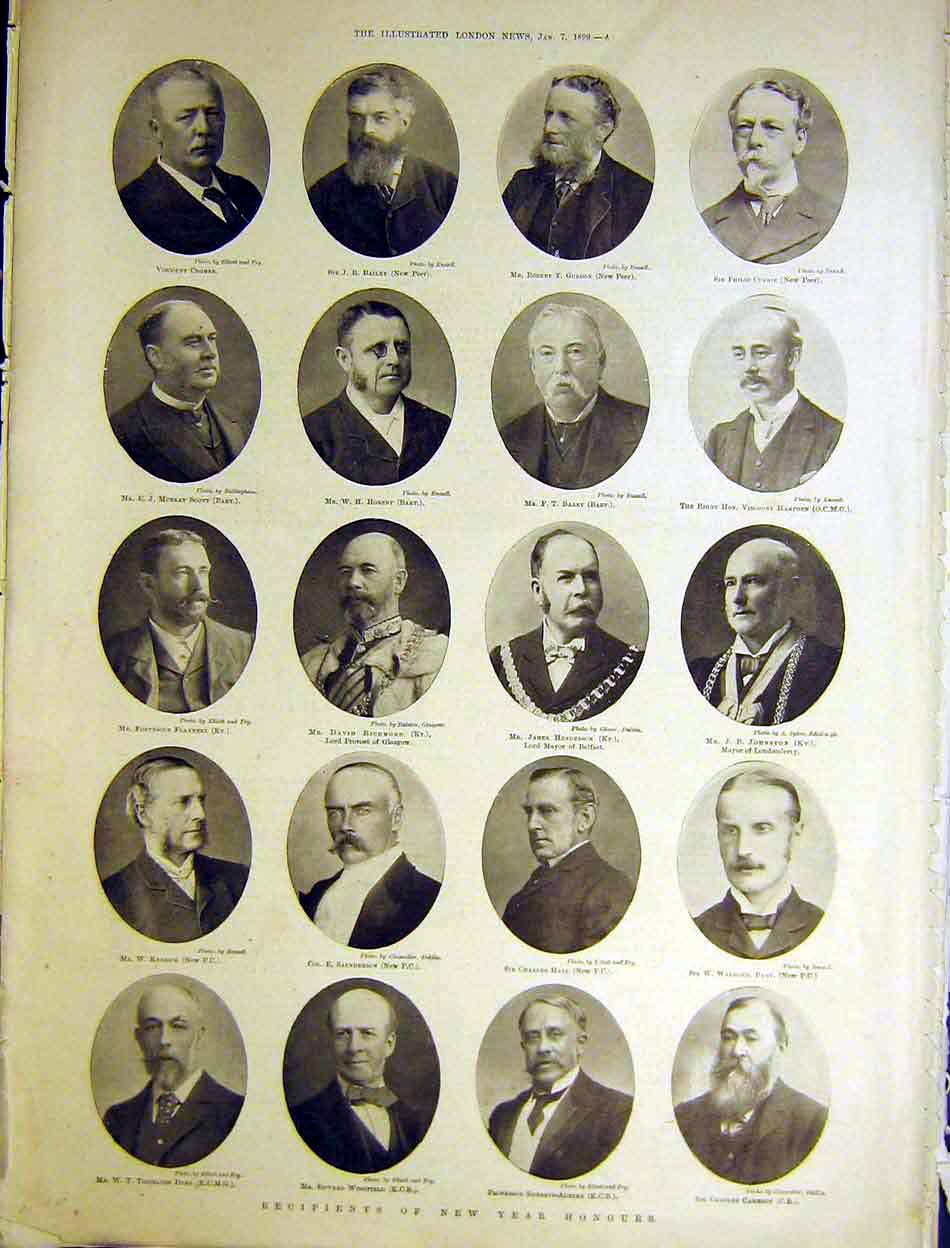 Print Portrait New Year Honours Recipients 1899 04Maa0 Old Original