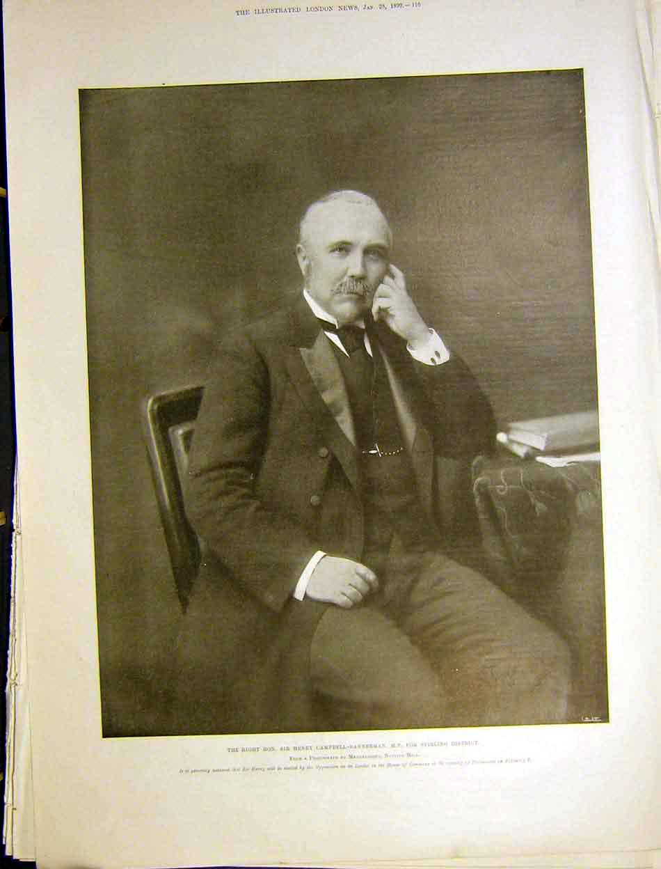 Print Portrait Campbell-Bannerman Parliament Stirling 1899 16Maa0 Old Original