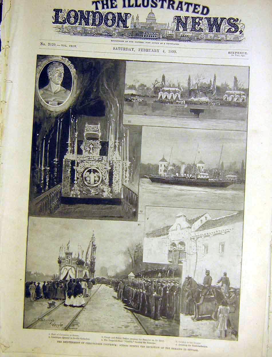 Print Reinterment Columbus Seville Cathedral 1899 46Maa0 Old Original