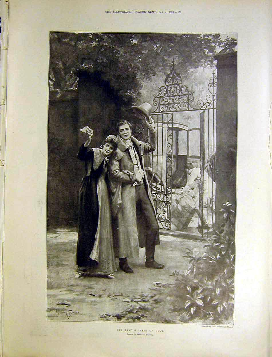 Print Knolwes Art 1899 Her Last Glimpse Home Lady Farewell 52Maa0 Old Original