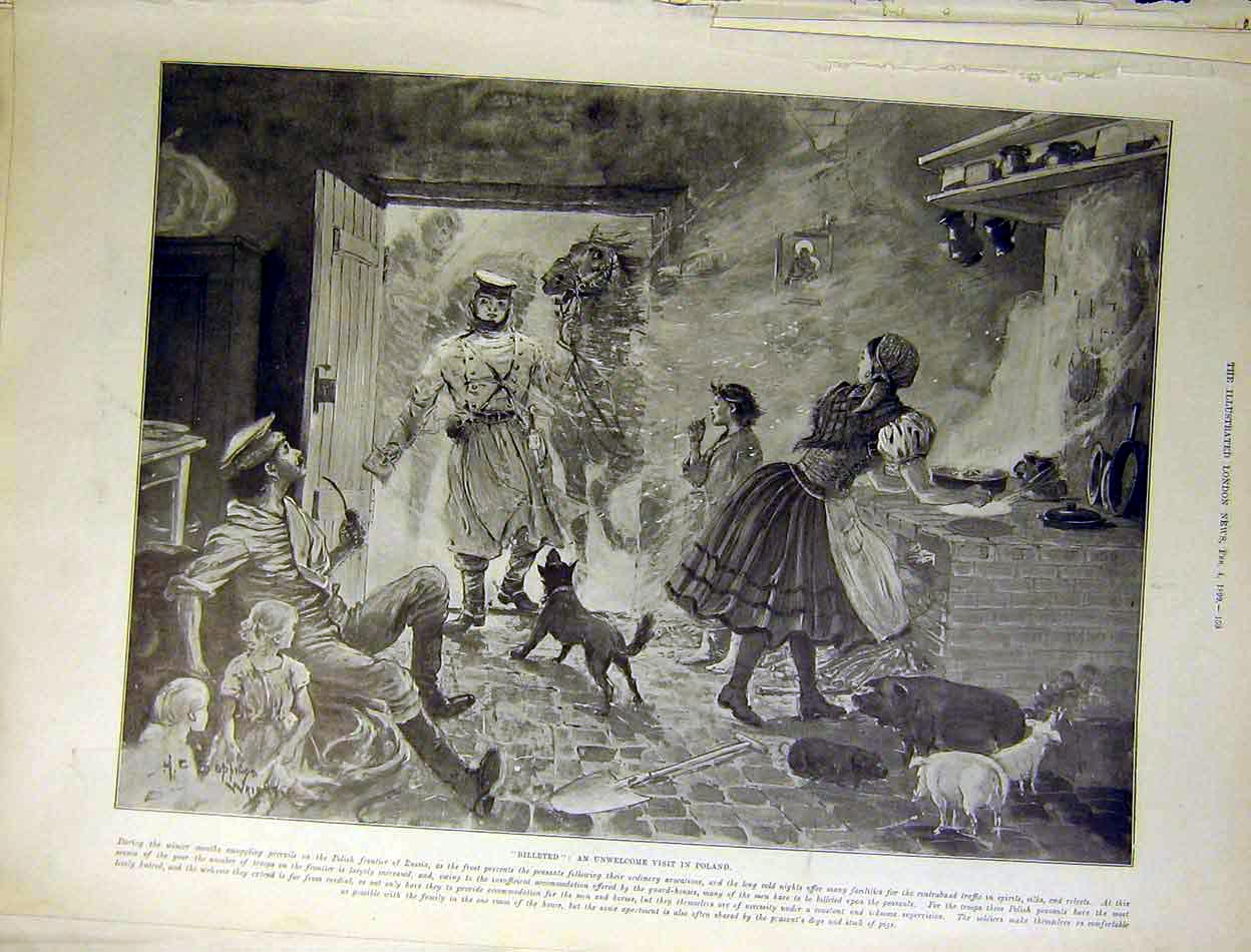 Print Billeted Poland Polish Frontier Russia Peasants 1899 59Maa0 Old Original