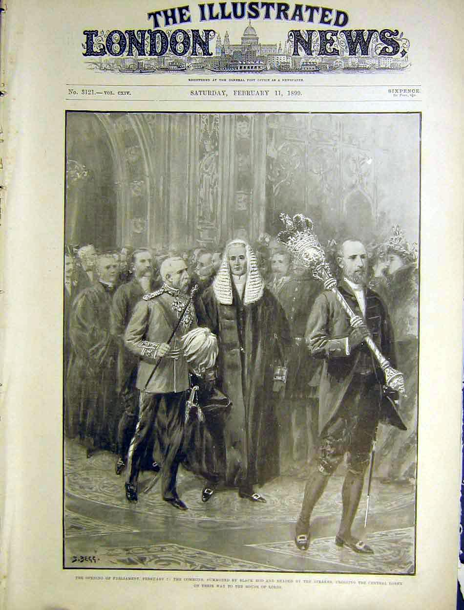 Print Parliament Commons Black Rod Speaker House Lords 1899 82Maa0 Old Original