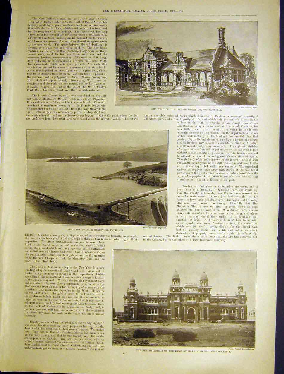 [Print Isle Wight Hospital Resevoir Plymouth Bank Madras 1899 95Maa0 Old Original]