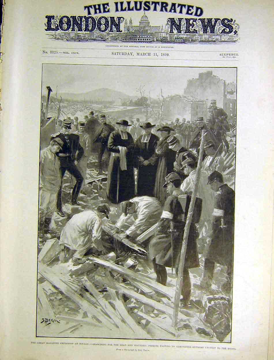 Print Toulon Magazine Explosion Priests Begg 1899 28Maa0 Old Original