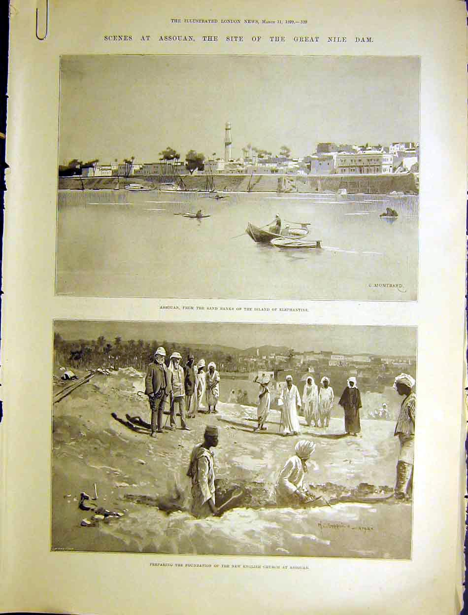 Print Assouan Nile Dam Duke Connaught Royal Train 1899 39Amaa0 Old Original