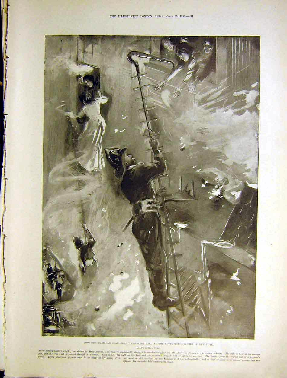 Print Hotel Windsor Fire American Scaling Ladders Hurst 1899 11Maa0 Old Original