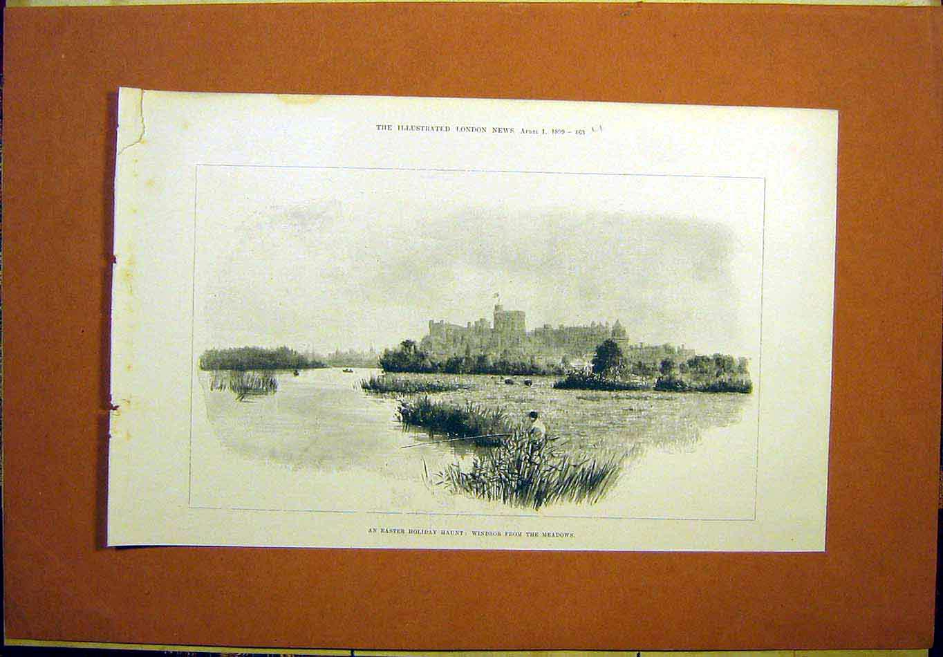 Print Easter Holiday Haunt Windsor Castle Meadows 1899 63Umaa0 Old Original