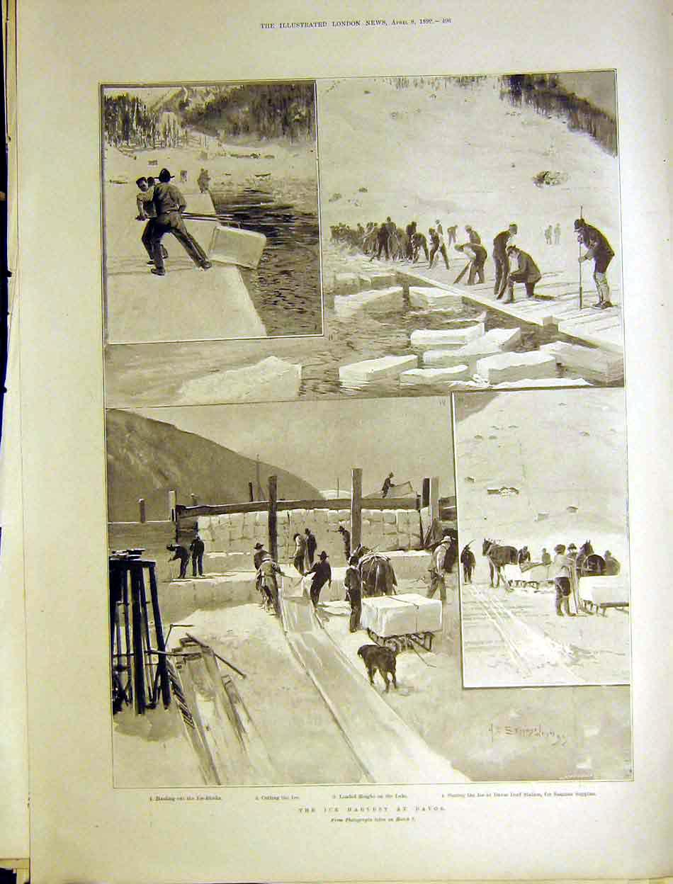 Print Ice Harvest Davos Dorf Station Lake Sleighs 1899 96Maa0 Old Original