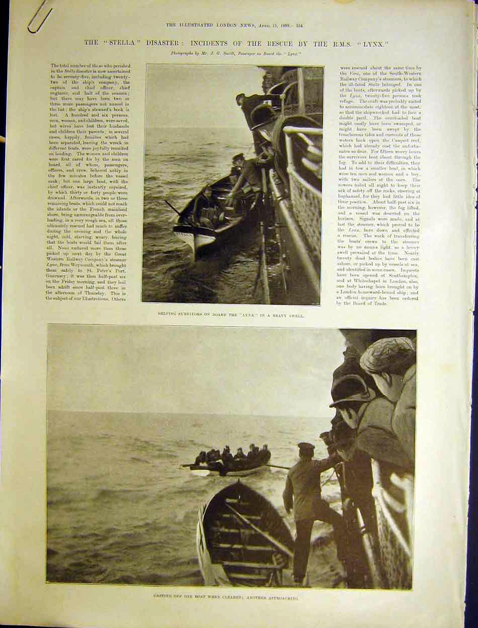 Print Stella Wreck Rms Lynx Rescue Survivors Ship Boat 1899 34Amaa0 Old Original
