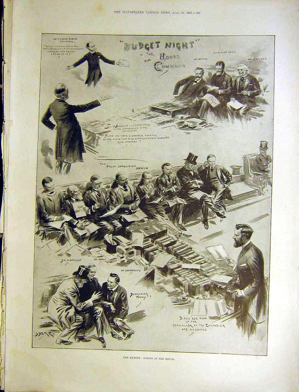 Print Budget House Commons Lords Parliament 1899 66Maa0 Old Original