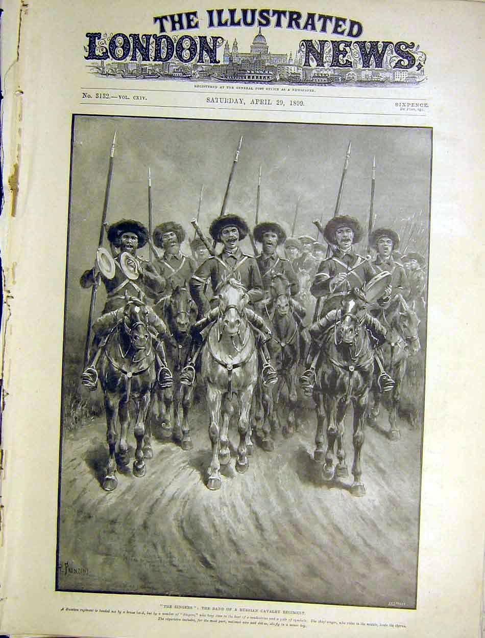 Print Singers Band Russian Cavalry Regiment 1899 00Maa0 Old Original