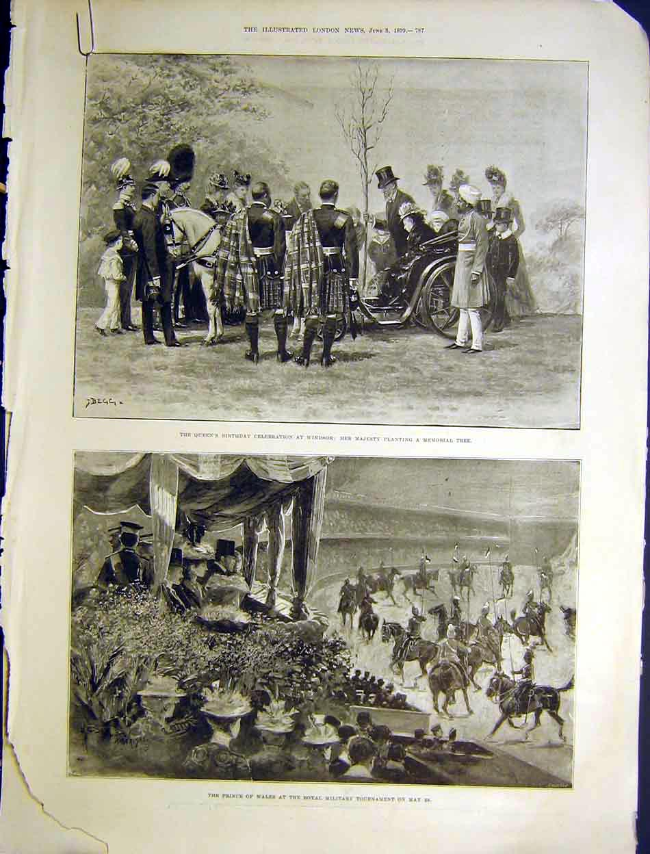 Print Queen Birthday Celebrations Windsor Royal Military 1899 87Amaa0 Old Original